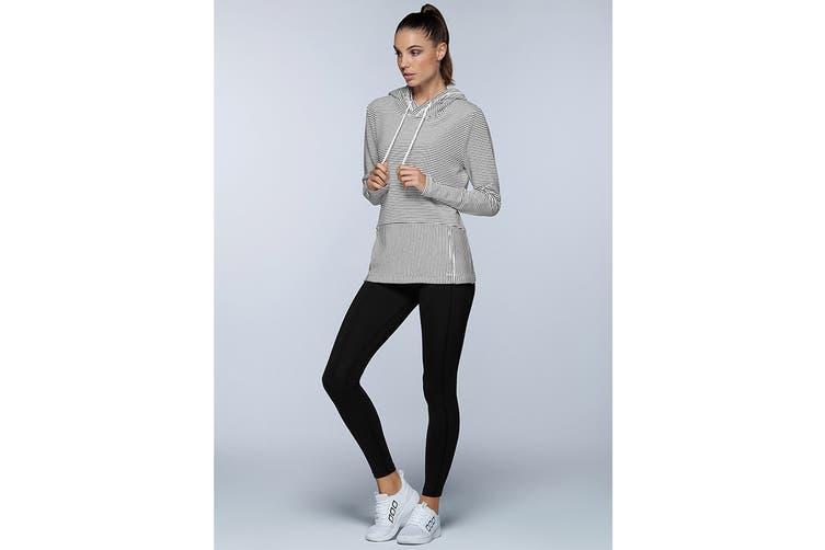 Lorna Jane Women's Everyday Active Long Sleeve Jacket (Black/White Stripe, XS)