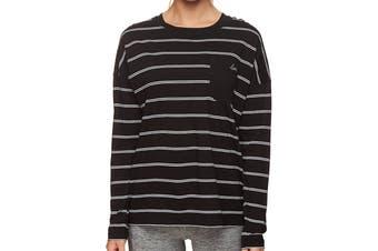 Lorna Jane Women's Everyday Long Sleeve Top (Black/White Stripe, Size XS)