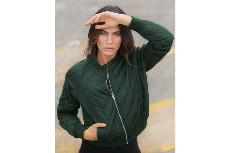 Lorna Jane Women's Break The Mould Bomber Jacket (Fig Green, L)