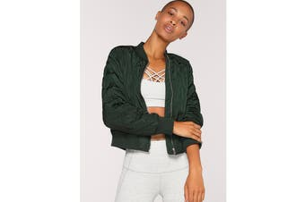 Lorna Jane Women's Break The Mould Bomber Jacket (Fig Green)