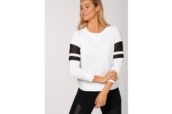 Lorna Jane Women's Coach Long Sleeve Sweat Top (White/Black)