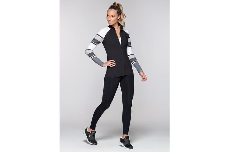 Lorna Jane Women's Pipeline Excel Zip Through Jacket (Black/White, S)