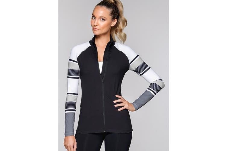 Lorna Jane Women's Pipeline Excel Zip Through Jacket (Black/White, XL)