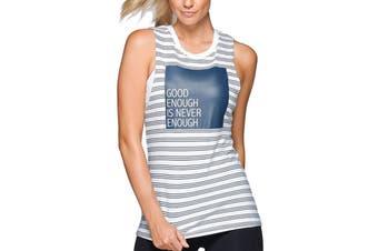 Lorna Jane Women's Never Enough Tank Top (White/Ash Blue, Size L)