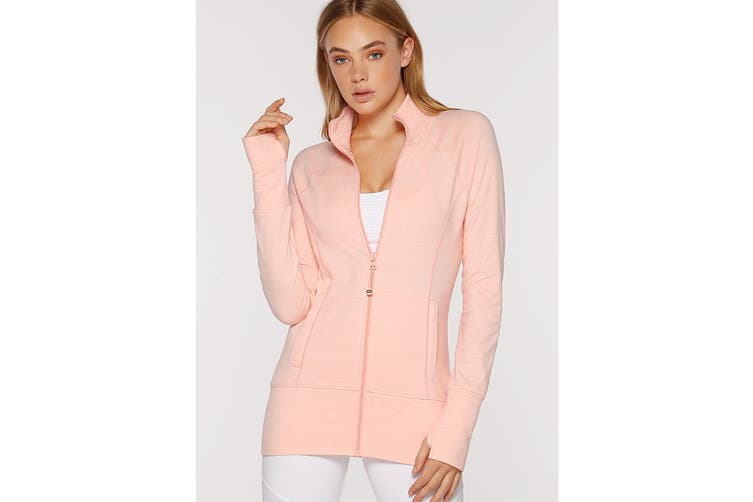 Lorna Jane Women's Louella Active Long Sleeve Jacket (Peach Marl, M)