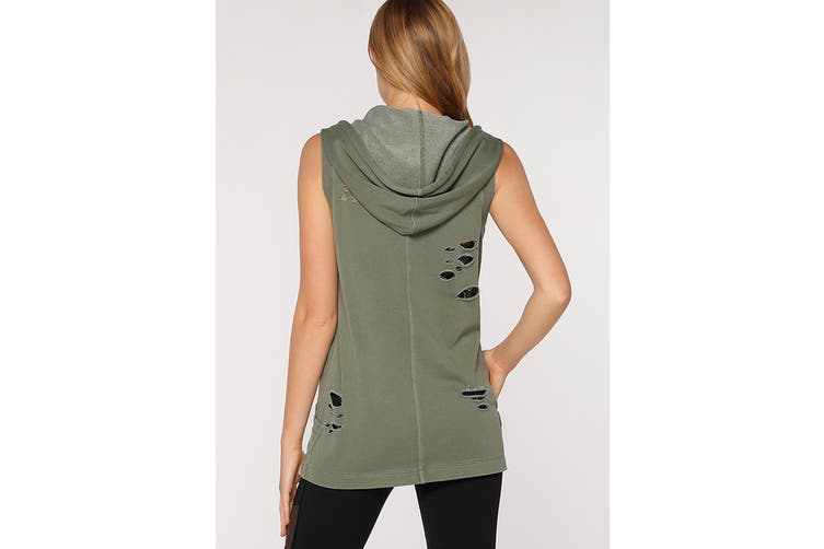 Lorna Jane Women's Hustler Sleeveless Jacket (Light Khaki, L)