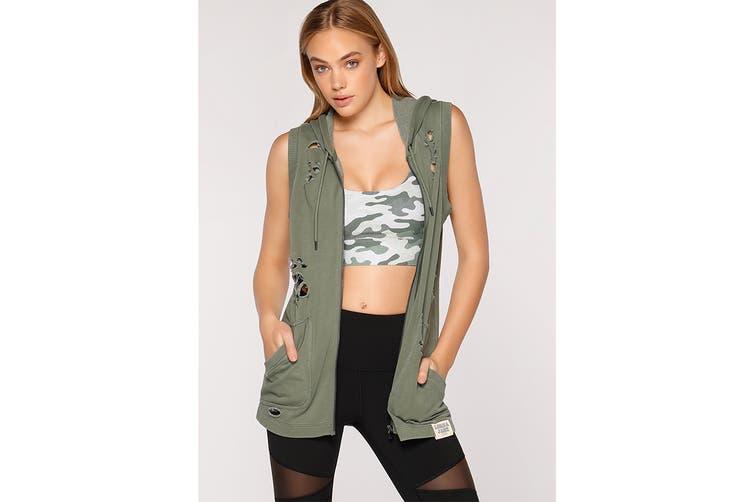 Lorna Jane Women's Hustler Sleeveless Jacket (Light Khaki, XS)