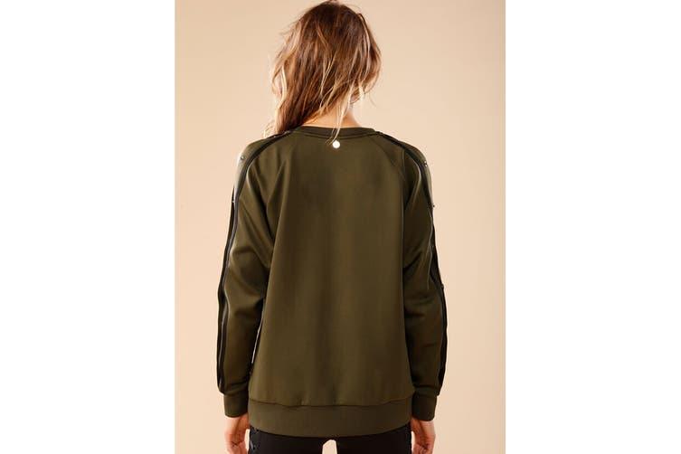 Lorna Jane Women's Highline Long Sleeve Snap Top (Luxury Green, Size L)