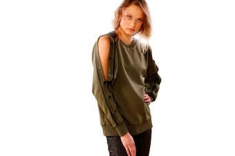 Lorna Jane Women's Highline Long Sleeve Snap Top (Luxury Green, Size M)