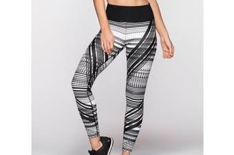 Lorna Jane Women's Crazed Core Full Length Leggings (Black/White, Size XS)