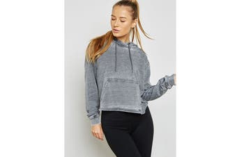 Lorna Jane Women's Vintage Cropped Hood Jacket (Stone Wash Grey)