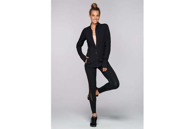 Lorna Jane Women's Bella Excel Zip Through Top (Black, XL)