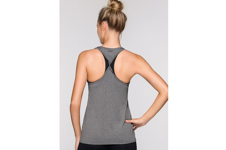 Lorna Jane Women's Never Give Up Active Tank Top (Mid Grey Marl, XL)