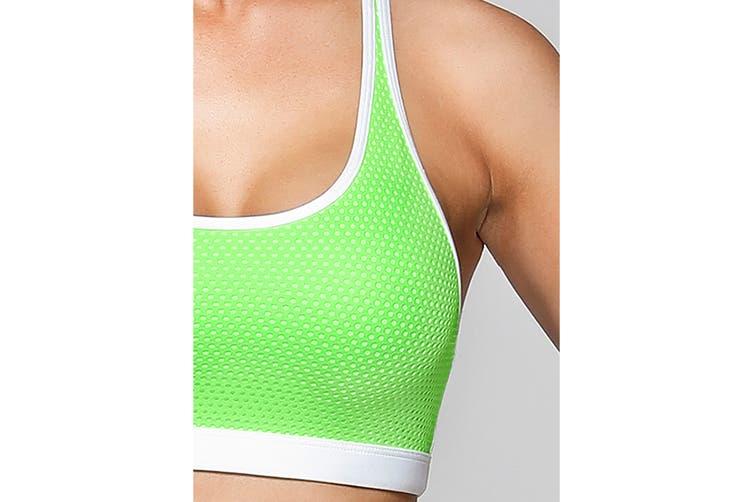 Lorna Jane Women's Bailey Sports Sports Bra (Sunbleached Lime/White, M)