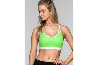 Lorna Jane Women's Bailey Sports Sports Bra (Sunbleached Lime/White, XS)