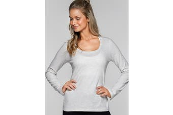 Lorna Jane Women's Going Places Long Sleeve Top (Snow Grey Marl)