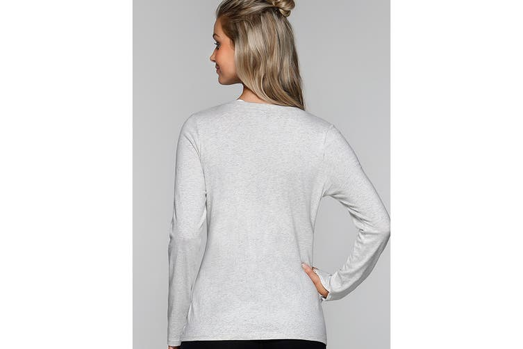Lorna Jane Women's Going Places Long Sleeve Top (Snow Grey Marl, M)