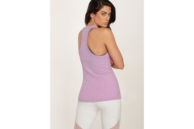 Lorna Jane Women's Fitness Fanatic Tank Top (Soft Lilac Marl, L)