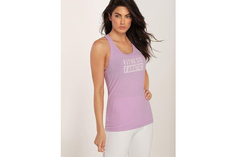 Lorna Jane Women's Fitness Fanatic Tank Top (Soft Lilac Marl, XXS)