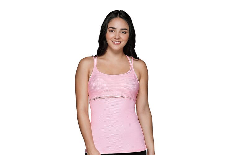 Lorna Jane Women's Plunge Excel Tank Top (Baby Pink, Size L)