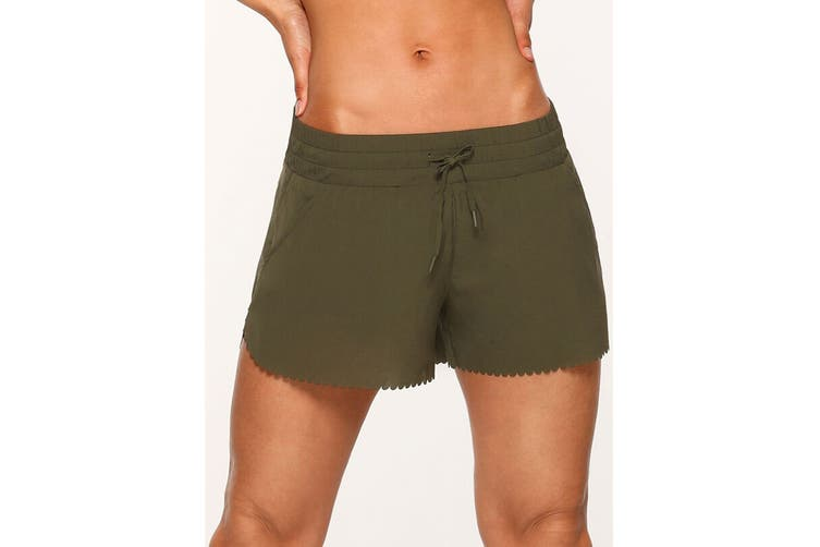 Lorna Jane Women's Breeze Lightweight Run Shorts (Luxury Green, Size XS)