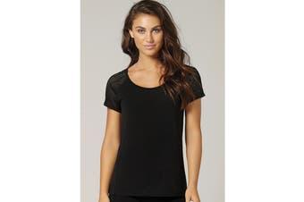 Lorna Jane Women's Bring It Active Short Sleeve Top (Black, Size XS)