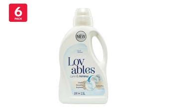 Lovables 1.5L Laundry Liquid Front & Top Loader For Whites Care & Renew (6 Pack)