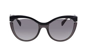 Miu Miu 0MU01TS Sunglasses (Black Transparent Grey) - Grey