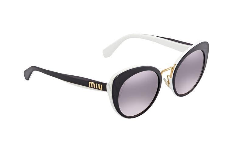 Miu Miu 0MU06TS Sunglasses (Black/White) - Violet Pink Shaded Mirror