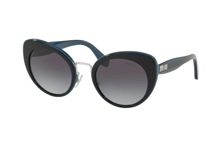 Miu Miu 0MU06TS Sunglasses (Blue/Silver) - Grey Gradient