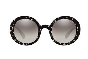 Miu Miu 0MU06US Sunglasses (Black/White/Star Grey) - Gradient Grey Mirror Silver
