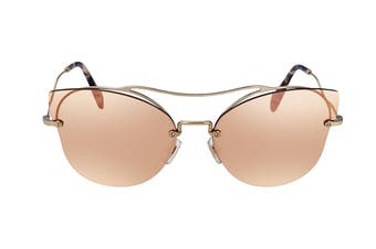 Miu Miu 0MU52SS Sunglasses (Gold/Gold) - Dark Brown Mirror Rose Gold