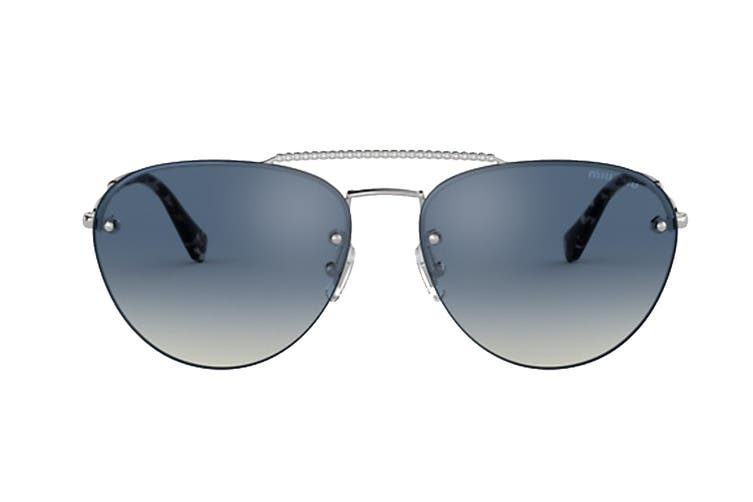 Miu Miu 0MU54US Sunglasses (Silver) - Grey Gradient Blue Mirror