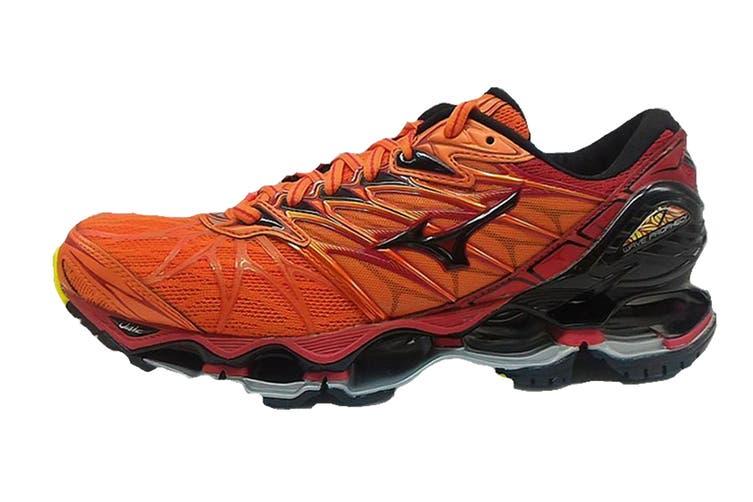 Mizuno Men's WAVE PROPHECY 7 Running Shoe (Flame/Black/Tango Red, Size 7.5 US)