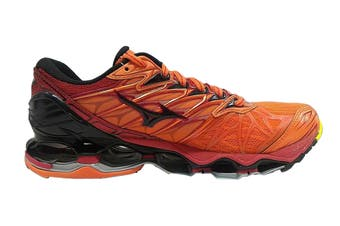 Mizuno Men's WAVE PROPHECY 7 Running Shoe (Flame/Black/Tango Red, Size 8 US)
