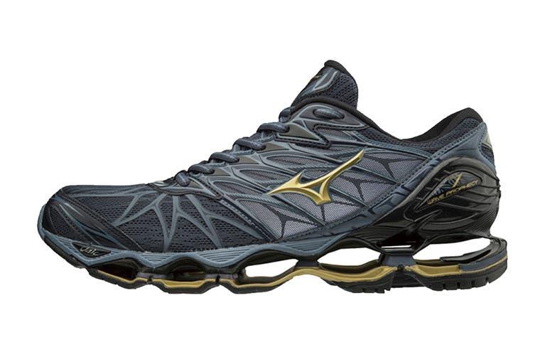 Mizuno Men's WAVE PROPHECY 7 Running Shoe (Ombre Blue/Gold/Black, Size 10.5 US)