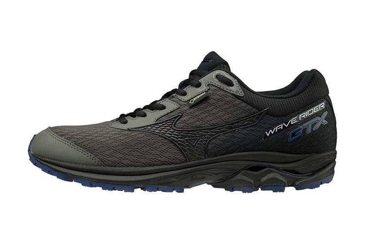 Mizuno Men's Wave Rider GTX Running Shoe (Gunmetal/Black/Green Slime, Size 10 US)