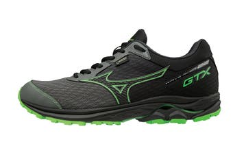Mizuno Men's WAVE RIDER 22 GTX Running Shoe (Gunmetal/Black/Green Slime)