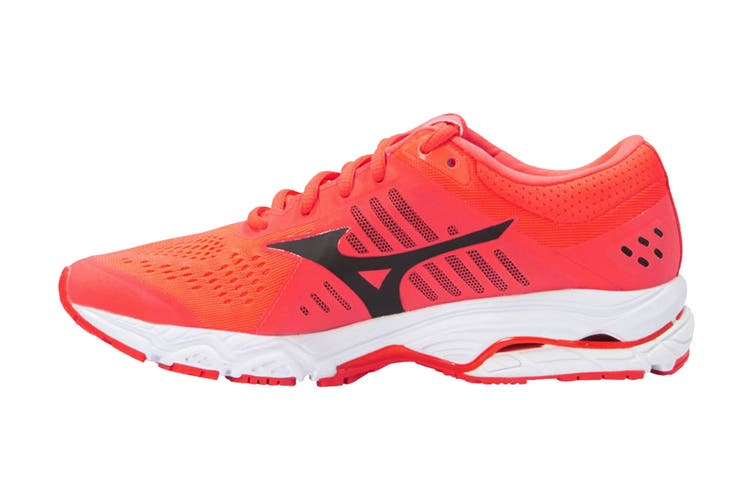 Mizuno Women's Wave Stream Running Shoe (Fiery Coral/Black/White, Size 7 US)