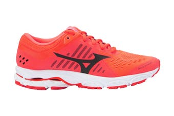 Mizuno Women's Wave Stream Running Shoe (Fiery Coral/Black/White, Size 8 US)