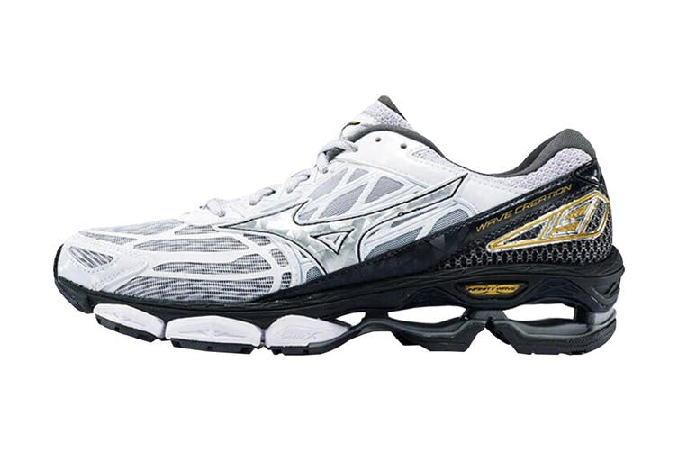 Mizuno Women's Wave Creation 19 Nova Running Shoe (Silver/Black/Gold, Size 8.5 US)