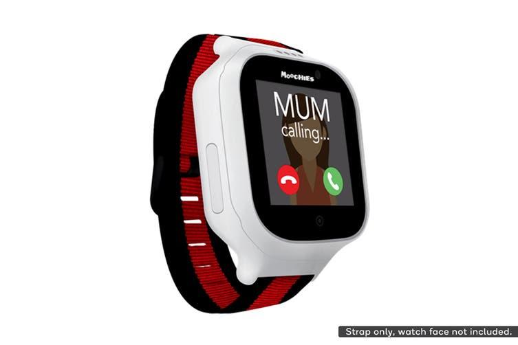 Moochies Fabric Watch Strap (Black/Red)
