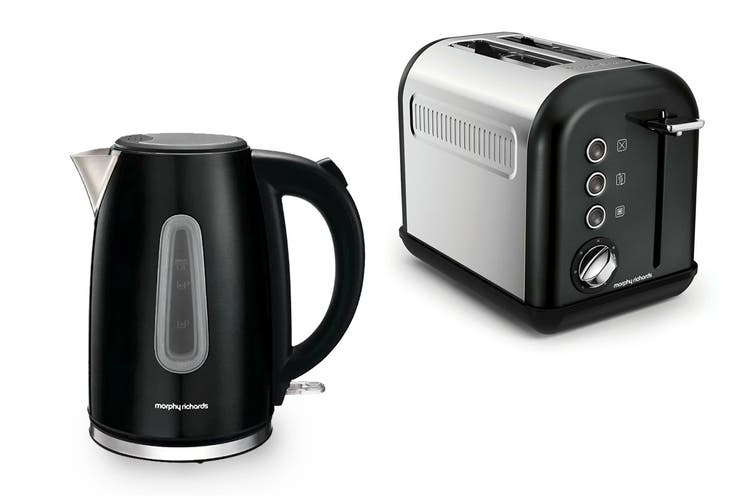 Morphy Richards Equip Toaster & Kettle Pack - Black (102776-222013)
