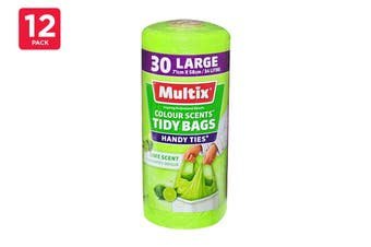 Multix Tidy Bags Handy Ties Assorted Large 34L 71cm X 58cm (12 x 30 Pack)