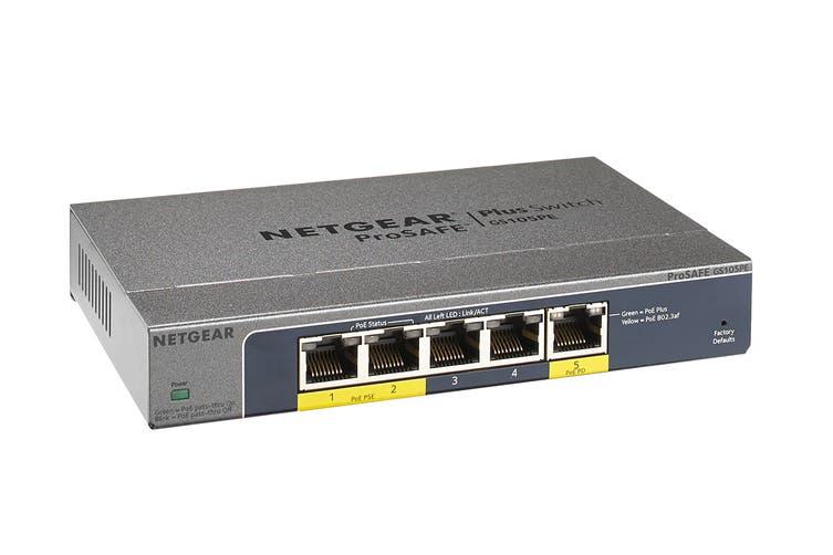 Netgear GS105PE ProSAFE Plus 5-Port Gigabit Switch with 2-Port Poe & 1-Port Poe Passthrough (GS105PE-10000S)