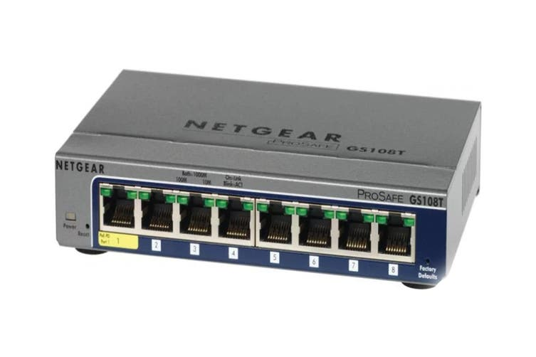 Netgear GS108TV2 ProSAFE 8-Port Gigabit Smart Switch (GS108T-200AUS)