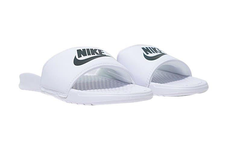 Nike Women's Benassi Jdi Sandals (White/Silver, Size 7 US)