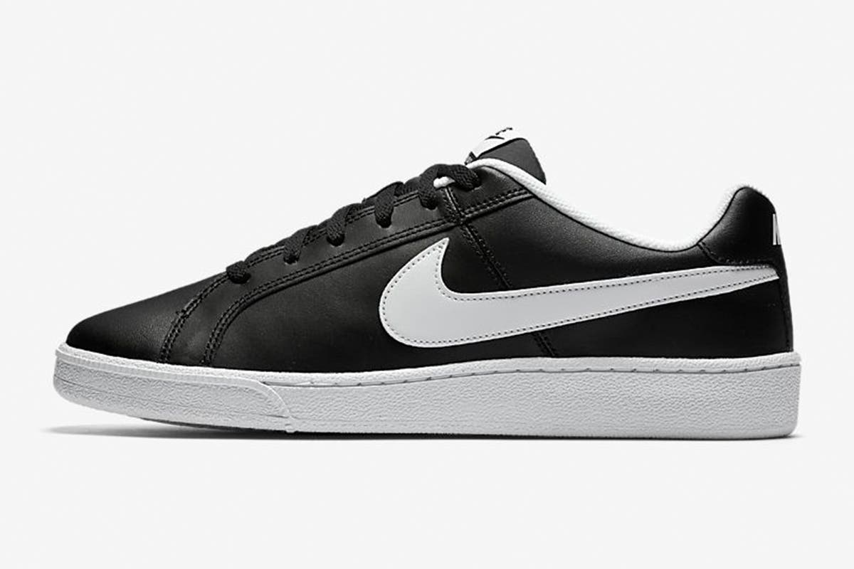 Nike Men's Nike Court Royale Sneaker (Black/White, Size 11.5 US) Taking inspiration from the archives, the Nike Men's Nike Court Royale Sneakers bring retro tennis style in a modern package for everyday comfort.   Leather and synthetic upper for premium comfort Classic rubber cupsole for durability Herringbone outsole pattern for traction