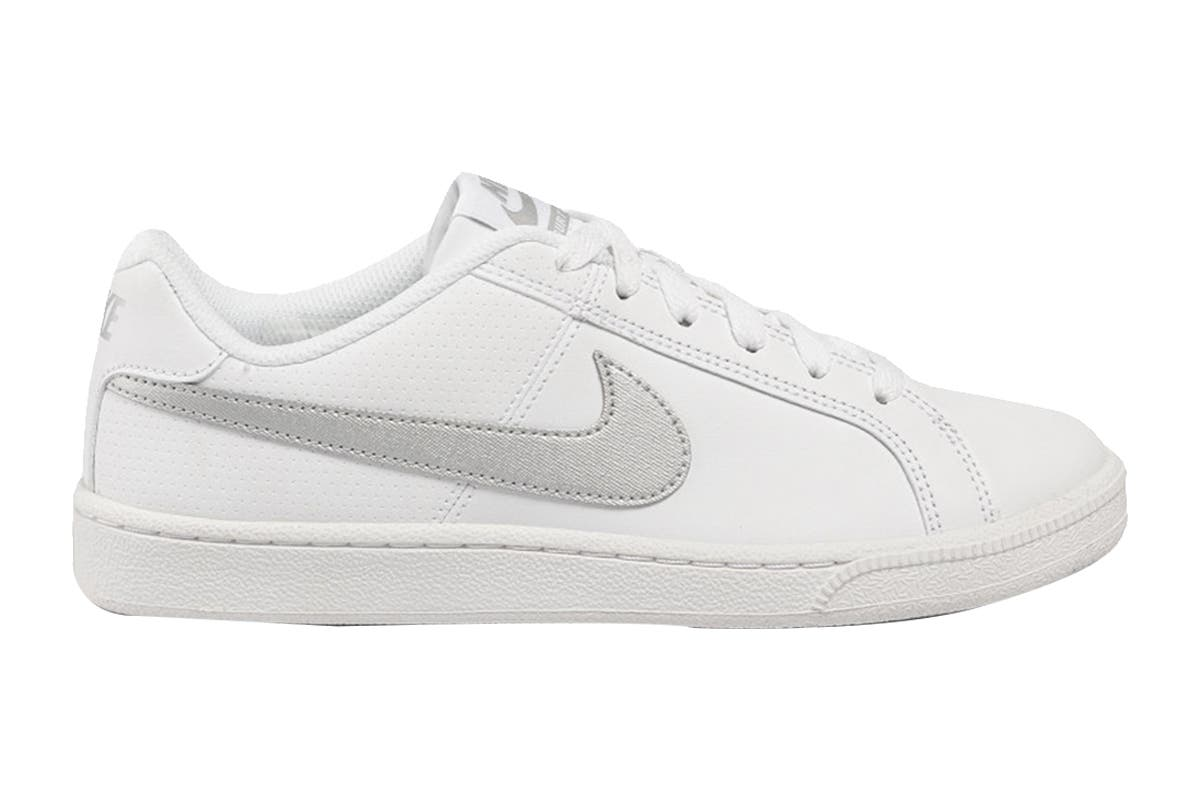 Nike Women's Nike Court Royale Sneaker (White/Metallic Silver, Size 7.5 US) Taking inspiration from the archives, Nike Women's Nike Court Royale Sneakers deliver retro tennis style in a modern package for everyday comfort.   Leather and synthetic upper for premium comfort Classic rubber cupsole for flexibility and comfort Rubber outsole with herringbone pattern for durable traction