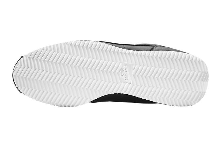 Nike Men's Cortez Basic Leather Shoe (Black/White/Metallic Silver, Size 13 US)
